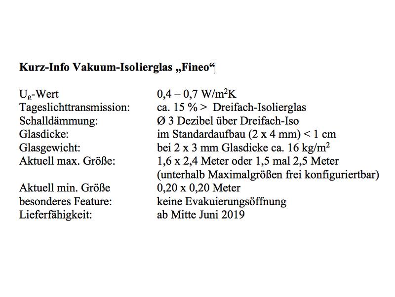 Kurz-Info Vakuum-Isolierglas Fineo Foto: © Vössing