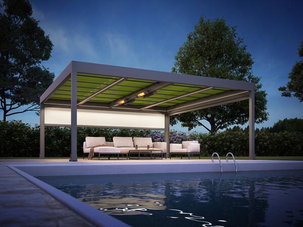 Anders als die meisten bekannten Lamellensysteme schließt es mit einer Markise als Dach ab. Foto: © Markilux