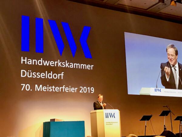 NRW-Ministerpräsident Armin Laschet gab bei der 70. Meisterfeier der Handwerkskammer Düsseldorf ein flammendes Plädoyer für Europa. Foto: © Michael Block