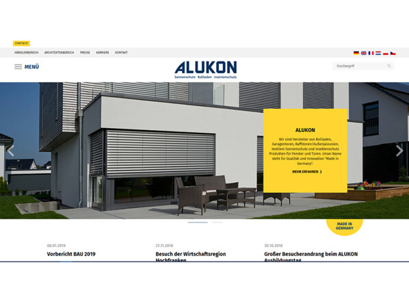 Der neue Online-Auftritt von Alukon hält für Architekten, Händler und Verarbeiter stets die neuesten Informationen rund um Sonnen- und Insektenschutz bereit. Foto: © Alukon