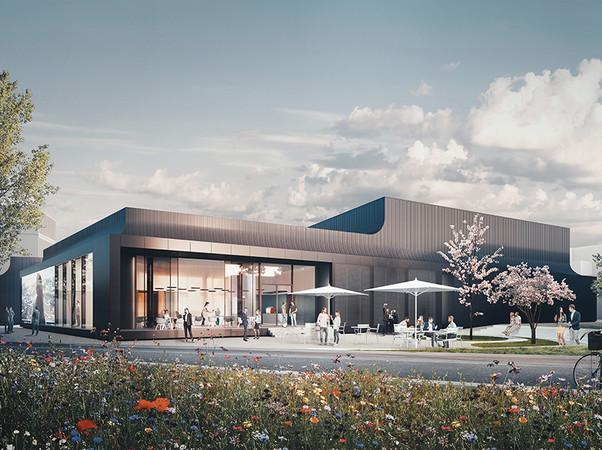Das Schüco Welcome Forum ist zukünftig die erste Anlaufstelle für Besucher und soll passend zur BAU 2021 fertiggestellt werden. Foto: © Schüco International KG