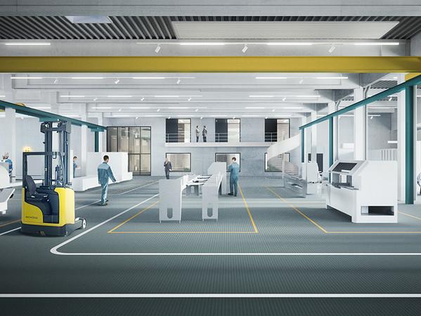 Im Schüco Welcome Forum können die Gäste eine komplette Fertigungsstraße mit der neuesten Maschinengeneration besichtigen. Foto: © Schüco International KG