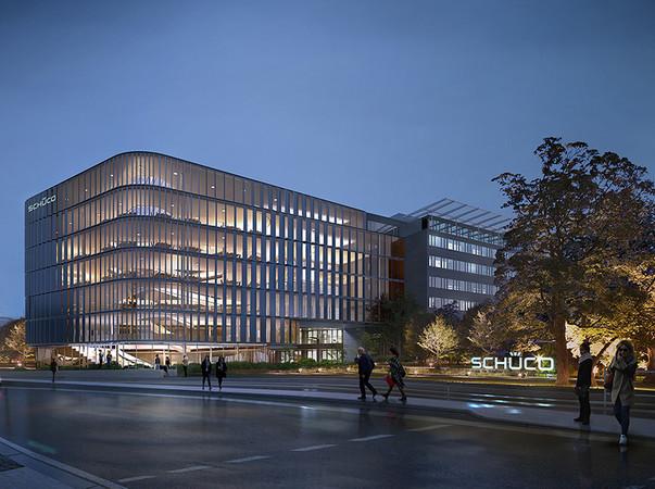 Ende 2020 soll der vom renommierten Kopenhagener Architekturbüro 3XN geplante Schüco One Neubau fertiggestellt sein. Foto: © 3XN Architects