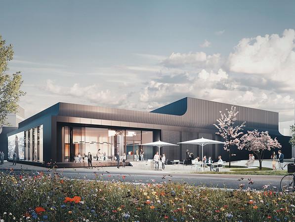 Das Schüco Welcome Forum wird die erste Anlaufstelle für Besucher und soll im 1. Halbjahr 2021 fertiggestellt werden. Foto: © one fine day/ Studio Dragusha