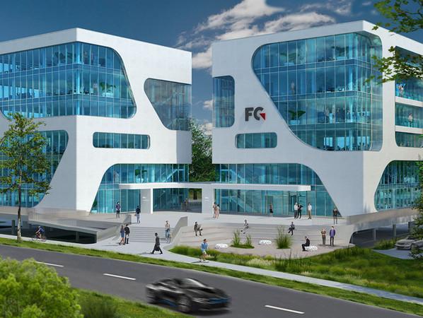 Visualisierung des FC Campus. Foto: © fc.gruppe und 3deluxe-Architekten