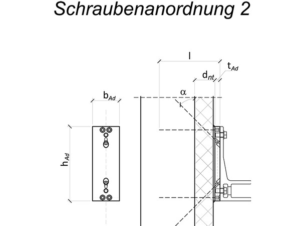Diese Schraubenanordnung benötigt etwas mehr Anschlusshöhe, dafür aber geringere Ständerbreiten bei Befestigungen an Holzständern. Foto: © Fischer