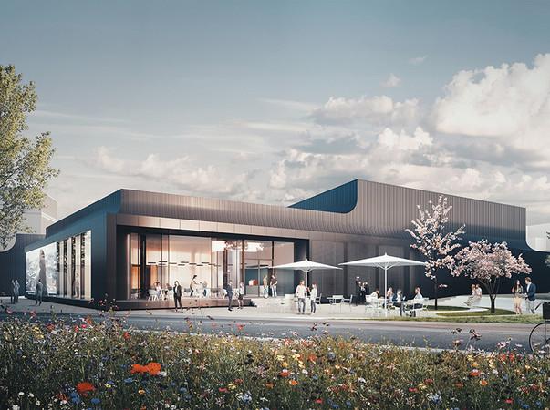 Das Schüco Welcome Forum wird die erste Anlaufstelle für Besucherinnen und Besucher und soll im vierten Quartal 2021 fertiggestellt werden. Foto: © one fine day/Studio Dragusha