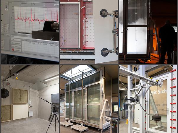 Im iftLAB Arnsberg (NRW) können baurechtlich anerkannte Prüfungen von Schalldämmung, Luft-Wind-Wasser, Dauerfunktion, Rauchschutz und Einbruchhemmung durchgeführt werden. Foto: © Athmer oHG