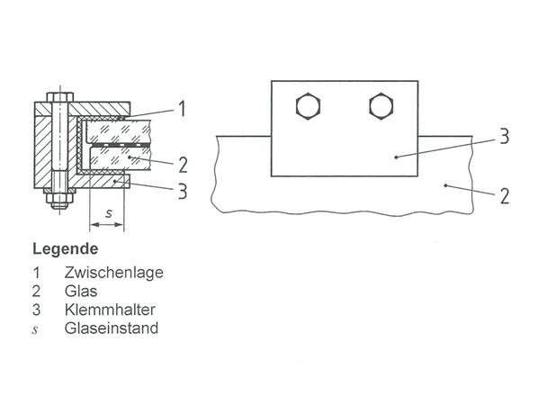 Bild 1: Prinzipdarstellung des Klemmhalters Foto: © Institut für Verglasungstechnik und Fensterbau e.V. / Stefan Wolter