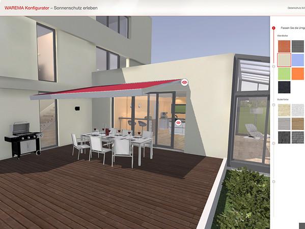 Sowohl die Hausfarbe als auch die Bodenstruktur kann verändert werden, um die Situation des eigenen Zuhauses nachzustellen. Foto: © Warema