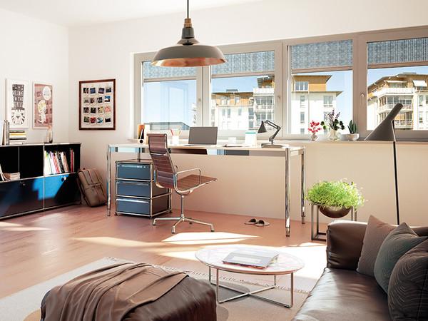 Einen blendfreien Sicht- und Hitzeschutz schafft die Lösung auch im Arbeitszimmer. Foto: © Heroal
