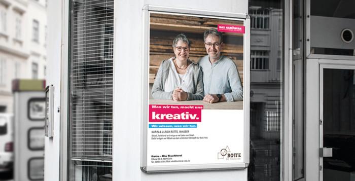 Mit dem neuen Plakat-Konfigurator können Betriebe ein eigenes Bild anstelle der nationalen Motive verwenden. Und sie können Infos zu ihrem Betrieb oder Gewerk integrieren. Foto: © DHKT / handwerk.de