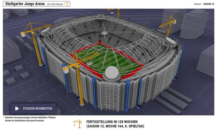 Bauen Sie Ihr eigenes Stadion und benennen Sie es nach Ihren Wünschen. Foto: © Online Football Association