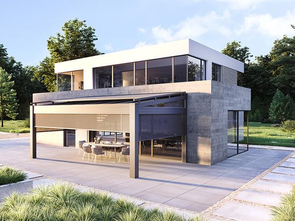 Dank seiner eindrucksvollen Spannweite eignet sich das Terrassendachsystem ideal für großzügige Überdachungen bei gastronomisch genutzten Objekten. Foto: © Heroal