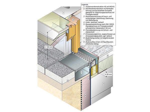Auch der Trend zum barrierefreien Bauen wird in der neuen TR 20 berücksichtigt. Das Beispiel 7.32. aus der Technischen Richtlinie zeigt einen ebenerdigen Terrassentüranschluss mit barrierefreier Schwelle und Rollladen, bei einer Außenwandkonstruktion mit WDVS mit Bauwerksabdichtung nach DIN 18533. Foto: © Technische Richtlinie Nr. 20