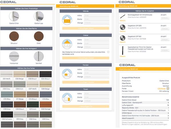 Produkt auswählen, Maße eingeben und Zubehör angeben: Mit dem neuen Cedral-Berechnungstool kann sich der private Bauherr für seine geplante Fassade mit Cedral Fassadenpaneelen das benötigte Material berechnen und auf Basis dessen ein Angebot erstellen lassen. Foto: © Eternit GmbH