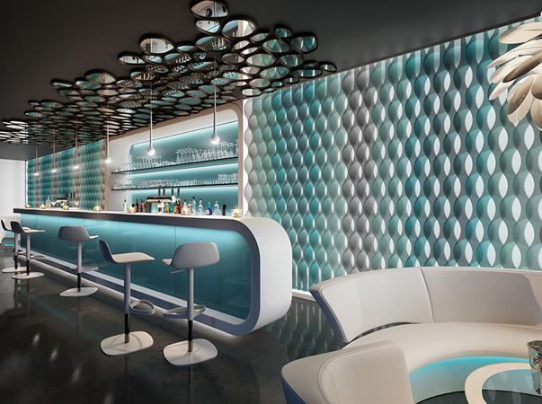 Effektvoll und ein exklusives Highlight in der Objektgestaltung sind individuell bedruckte Vertical Waves mit 3D-Effekt. Foto: © Silent Gliss
