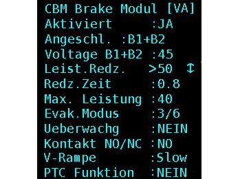 CBM parameter assignment via the control menu. Photo: © New Lift