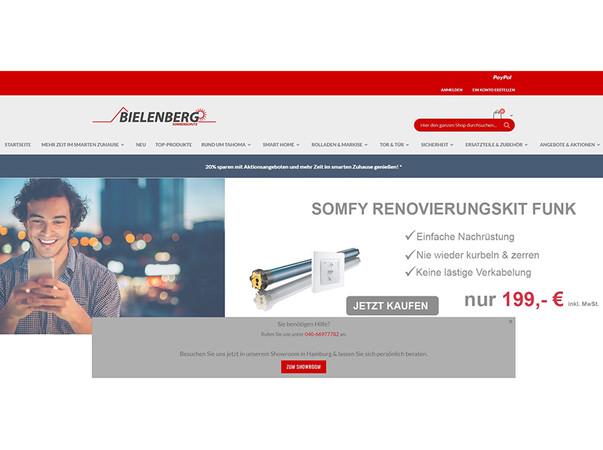 Ein Screenshot eines exemplarischen Experten-Onlineshops – hier vom Fachhändler Bielenberg Sonnenschutz in Hamburg. Foto: © Somfy