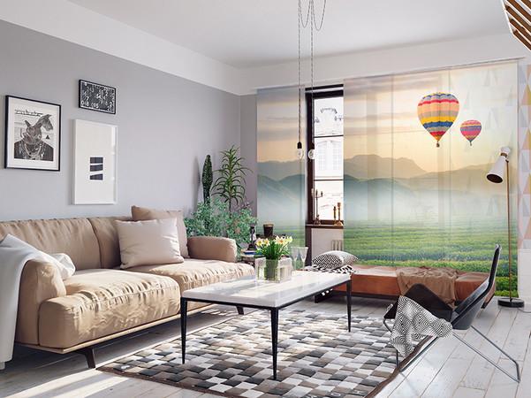 Individuell gestaltete Schiebegardinen sind ein stilvolles Gestaltungselement für Wohn- und Arbeitsräume. Foto: © La-Melle
