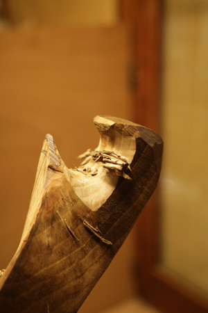Die Morso, die charakteristische Kerbe der Fórcola, in Bearbeitung einer Fórcola. Foto: © Louis Simon