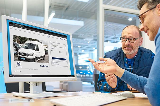Mit dem TradePort von Volkswagen schnell das passende Nutzfahrzeug für Ihren Betrieb finden. Foto: © Volkswagen TradePort