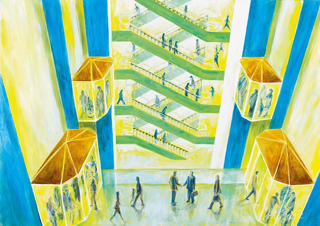 Aufzüge und Fahrtreppen verbinden Menschen: Hauer-Gemälde, exclusiv für Hauer gefertigt Foto: © Format Werbeagentur GmbH