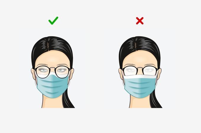 So geht es richtig: Die Brille wird über den Mund-Nasen-Schutz angezogen. So kann ich die Brille nicht beschlagen. Foto: © KGS e.V./www.sehen.de