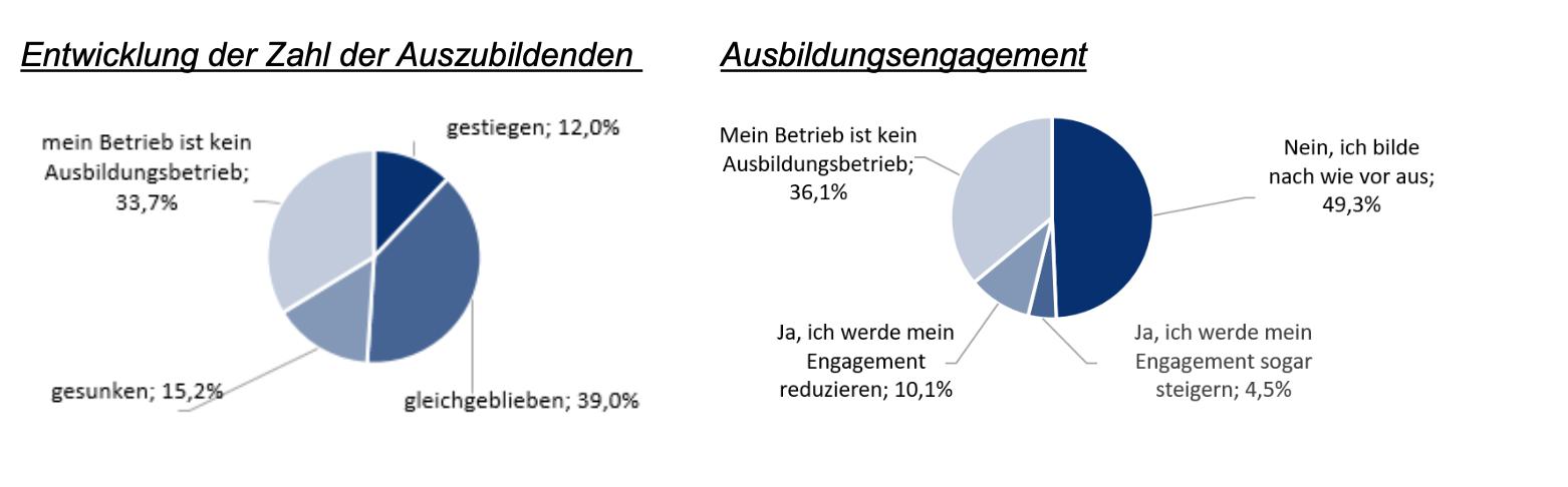Danach befragt, wie sich die Ausbildungssituation im Vergleich zum Vorjahr entwickelt hat, geben die Umfrage-Teilnehmer an. Foto: © Handwerkskammer Dortmund