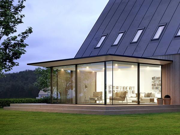 In der Designvariante Dachüberstand mit schräger Kante bietet die Lösung eine besonders schmale Ansichtsbreite. Foto: © Solarlux GmbH