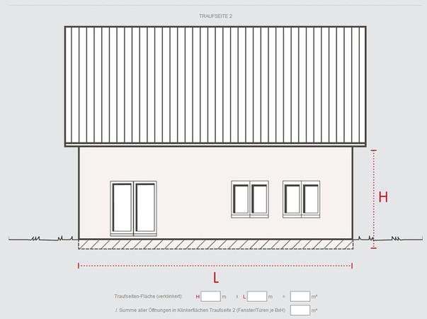 Für die einzelnen Seiten des Hauses, wie hier die Traufseite, werden jeweils die Grundflächen- und Dreiecksmaße angegeben sowie die Summe aller Öffnungen in Klinkerflächen. Foto: © Hagemeister GmbH & Co. KG
