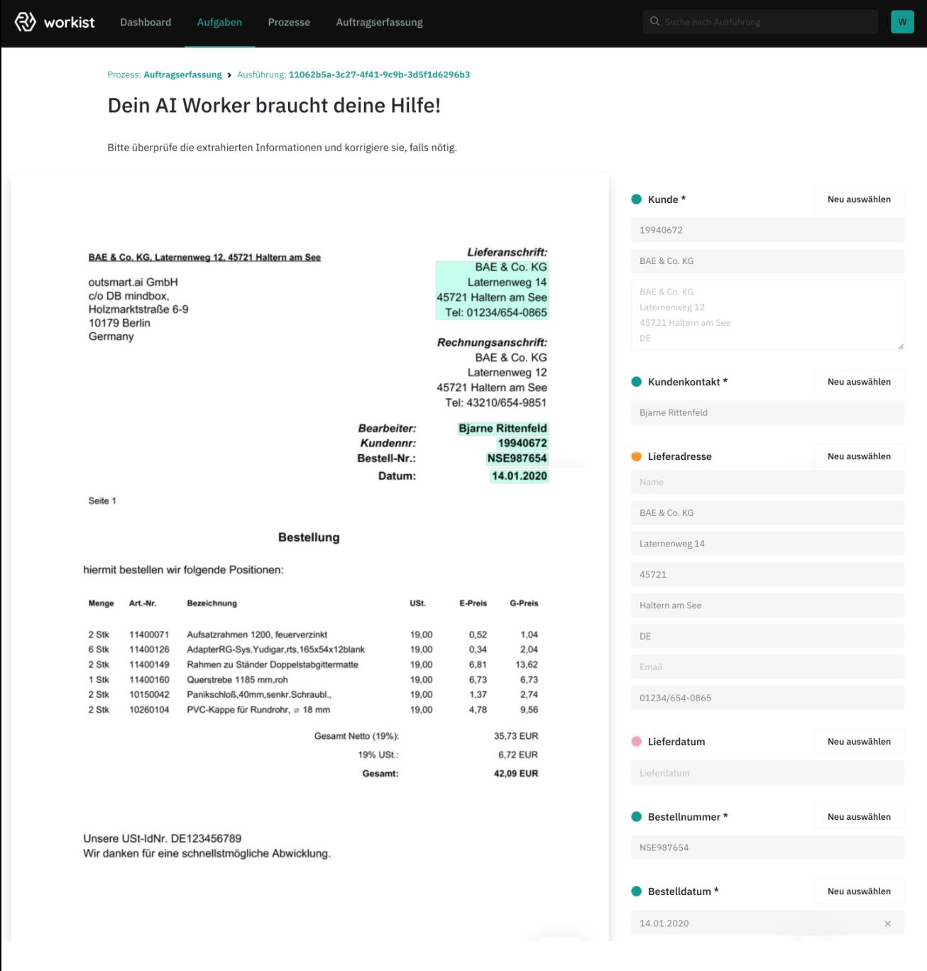 Sobald der AI Worker Daten aus einem Dokument nicht zuordnen kann, geht ein Hilferuf an einen Sachbearbeiter raus. Foto: © Screenshot Workist
