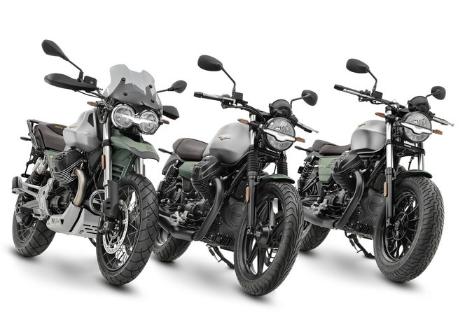 Drei neue Modelle zum 100-Jahre-Jubiläum (v.l.): V85 TT Centenario, V7 Stone Centenario und V9 Bobber Centenario. Foto: © Piaggio