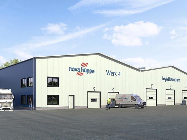 Die neue Logistik- und Lagerhalle entsteht in unmittelbarer Nähe zum Stammwerk des Unternehmens. Foto: © Nova Hüppe