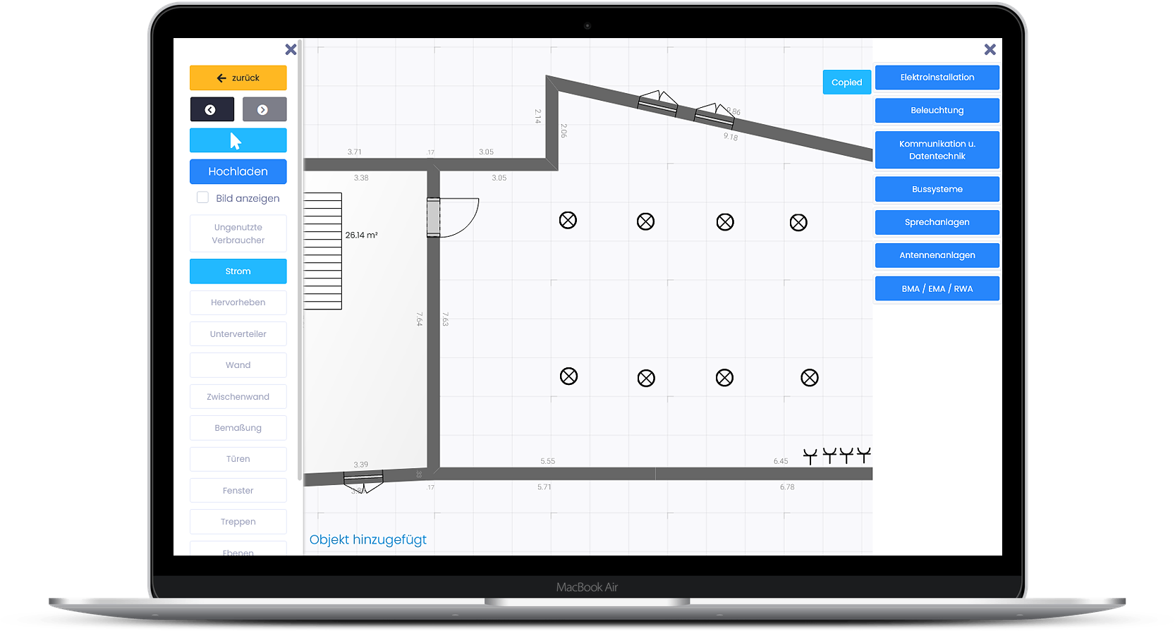 In der Stromkreis-App von Mapstrom kann der Grundriss der Räume in die App hochgeladen oder von den Monteuren selbst angelegt werden. Foto: © Mapstrom GmbH