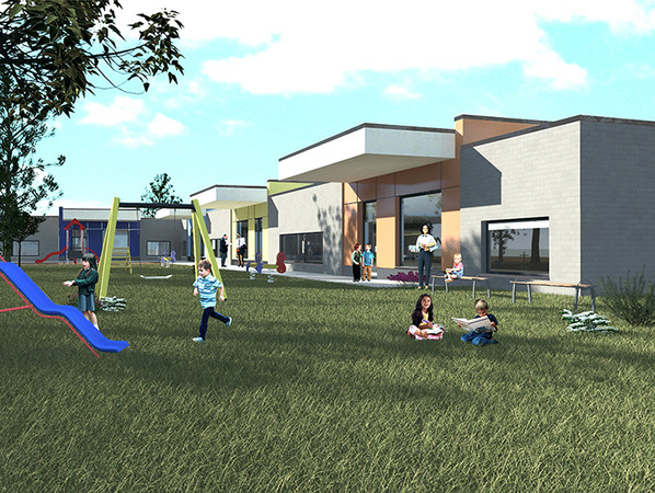 Eine Vorschau: Die Kindertagesstätte in Mönchengladbach wird nach Fertigstellung mit 57 Kömmerling ReFrame Elementen in den Farben außen Schiefergrau und innen Weiß ausgestattet sein. Foto: © Profine