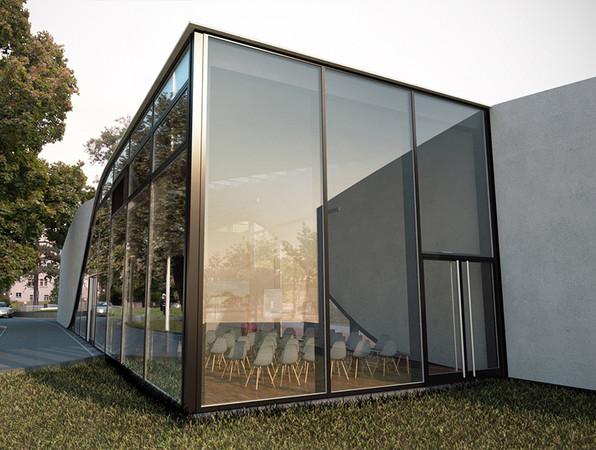 Das Forschungsgebäude teilt sich in eine dunkle Box und ein helles Dach auf. Foto: © Iurii Vakaliuk, Institut für Massivbau, TU Dresden
