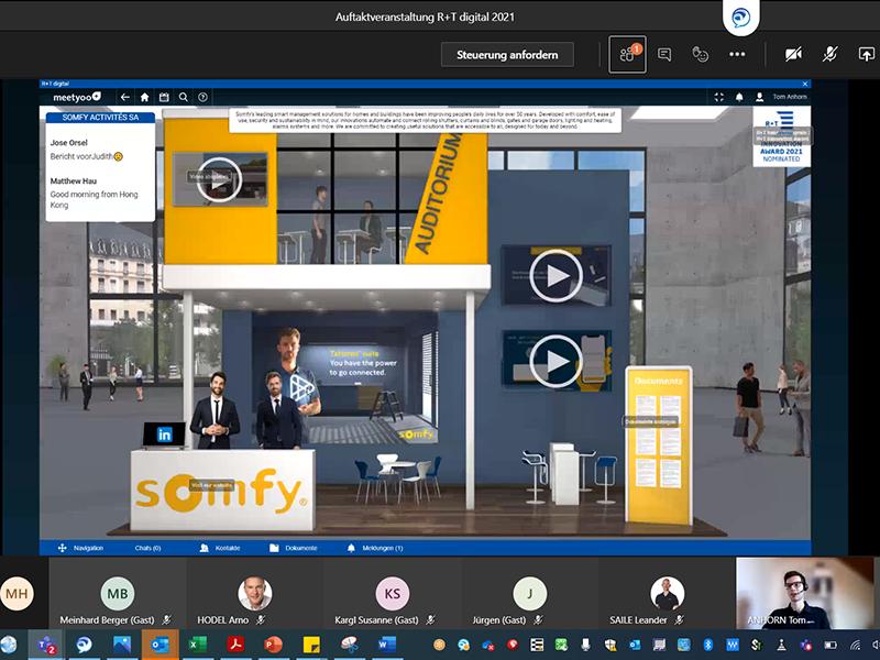 Auf der R+T digital führte das Unternehmen seine Partner virtuell über die Messe. Foto: © Somfy