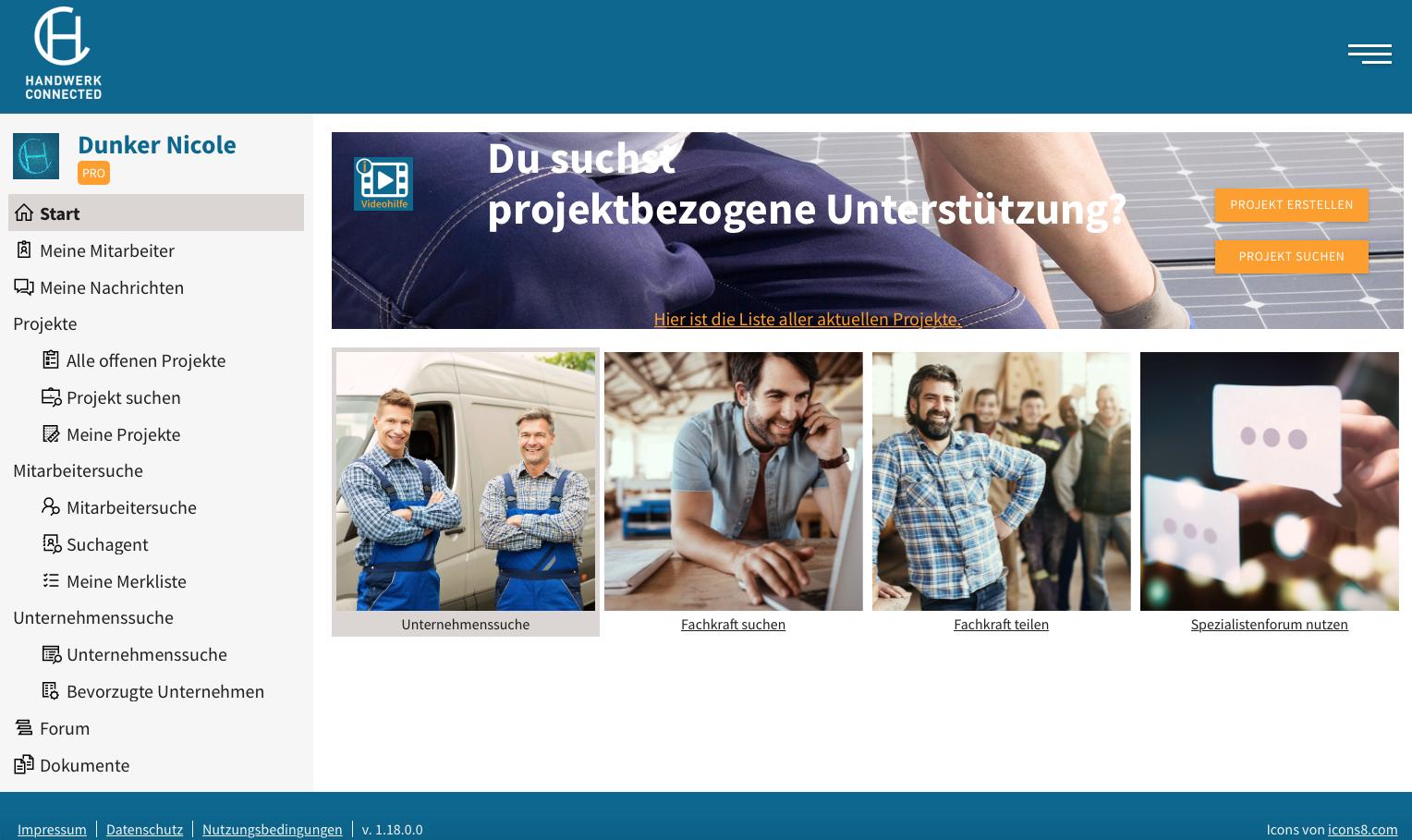 Startseite der Vermittlungsplattform Foto: © Handwerk Connected GmbH