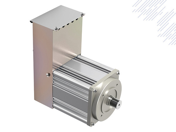 The lift door drive KFM LD consists of an asynchronous motor, frequency converter, line filter and encoder – including transmission and belt pulley. Photo: © Gefran