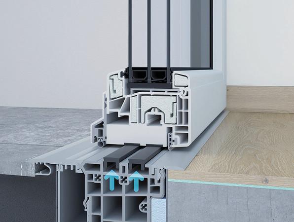Tür geschlossen – Magnete ziehen sich nach oben und machen das System absolut dicht. Foto: © Alumat-Frey GmbH