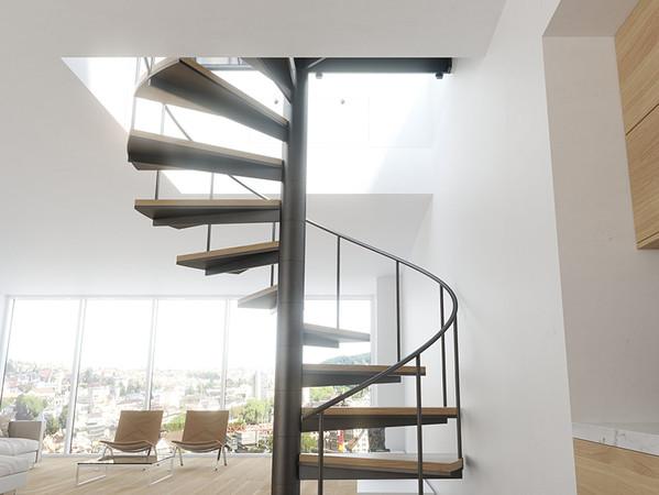Die quadratische Form des Lamilux Flachdach Ausstieg Komfort Quadrat ermöglicht es erstmals auch Wendel- und Podesttreppen darunter zu nutzen und die Räume so besonders puristisch zu gestalten. Foto: © Lamilux