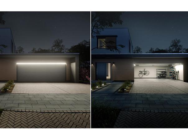 Die Außenbeleuchtung für Garagentore illuminiert die gesamte Einfahrt und punktet mit filigraner und eleganter Optik. Foto: © Teckentrup