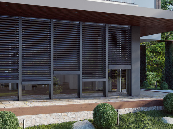 Eine hervorstechende Eigenschaft der neuen Fassadenjalousien sind die bis zu 90 Grad drehbaren Lamellen. Foto: © Drutex S.A.