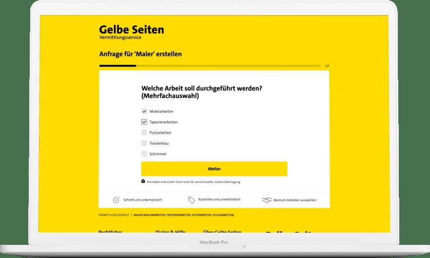 Mit wenigen Schritten können Gelbe-Seiten-Nutzer das Angebot eines Malers oder anderer Handwerker einholen. Foto: © Gelbe Seiten Marketing Gesellschaft mbH