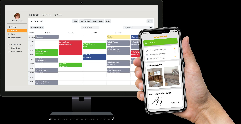 Mit Plan-it werden die Arbeitsabläufe im Büro organisiert. Über Do-it erhalten die Monteure den jeweiligen Arbeitsauftrag auf ihr Smartphone. Foto: © Craftboxx