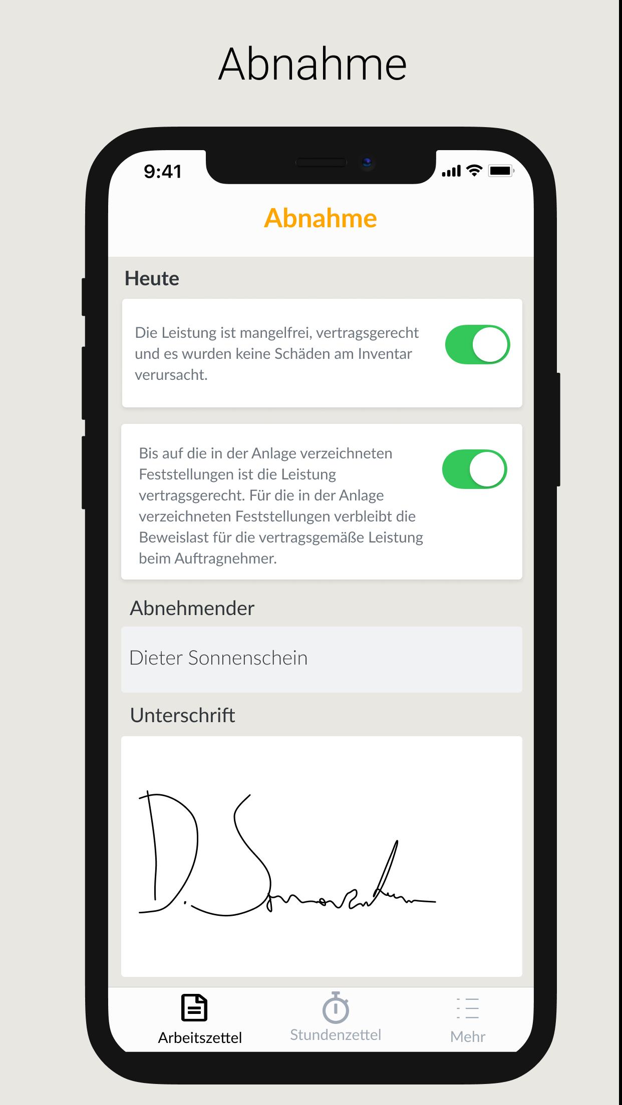 Über die Craftboxx-App können Monteure die Abnahme eines Auftrags unterschreiben lassen. Foto: © Craftboxx